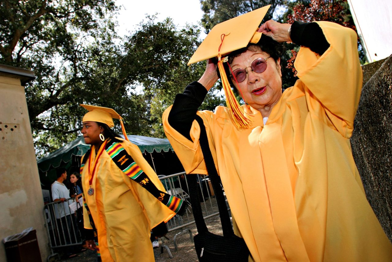Berkeley High Graduation of Japanese-American Internment Victim who could not graduate when expected during WWII